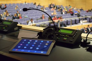 Tablet with interpreter microphone